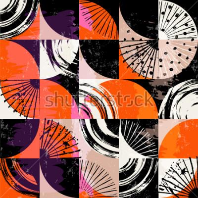 Canvastavlor Abstrakt bakgrundsmönster, med cirklar, prickar, kvadrater, slag och stänk
