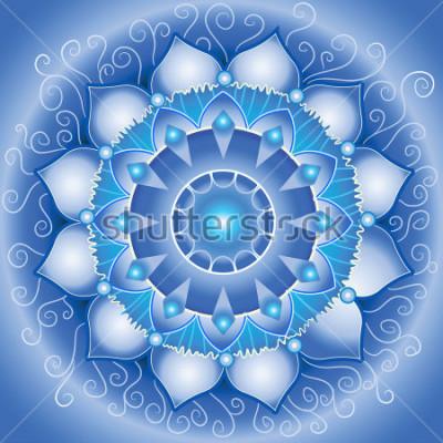 Canvastavlor abstrakt blå mönster, mandala av vishuddha chakra vektor