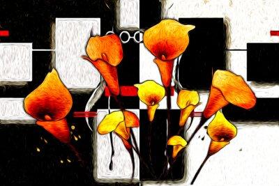 Canvastavlor Abstrakt blomma oljemålning