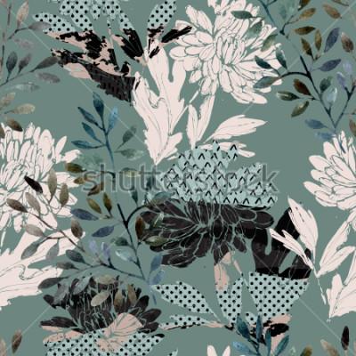 Canvastavlor Abstrakt blommar monster. Akvarellblommor, lejon fyllda med minimal doodle texturer. Naturlig bakgrund. Handmålade höstillustration för tyg, textil, inslagning
