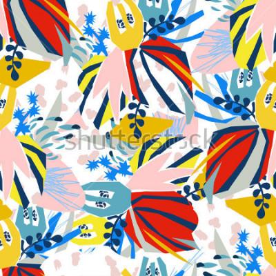 Canvastavlor Abstrakt blommiga element papper collage. Vektorillustration handtecknad.Sketch gör om för modern skandinavisk platt design-affisch, inbjudan, postkort, t-shirt design.Samlös mönster.