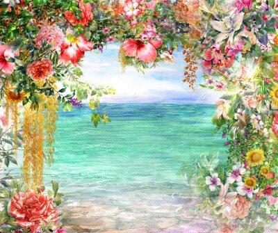 Canvastavlor Abstrakt blommor akvarellmålning. Spring mångfärgade nära havet