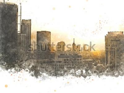 Canvastavlor Abstrakt byggnad i staden på akvarellmålningbakgrund. Stad på Digital illustrationborste till konst.