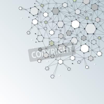 Canvastavlor Abstrakt DNA-molekyl struktur med Polygon på ljusgrå färg bakgrunden. Vektor illustration av kommunikation - nätverk för futuristiska teknik koncept
