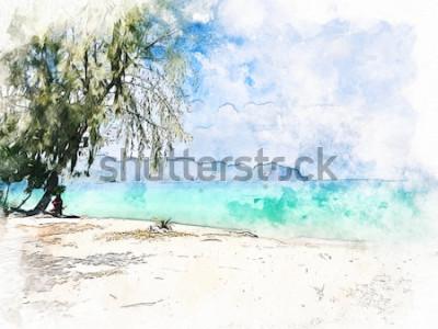 Canvastavlor Abstrakt färgrik härlig bergskedja och havsvatten i Krabi, Thailand på målarbakgrund för akvarellillustration.