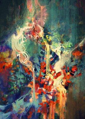 Canvastavlor abstrakt färgrik målning, smält färgelement