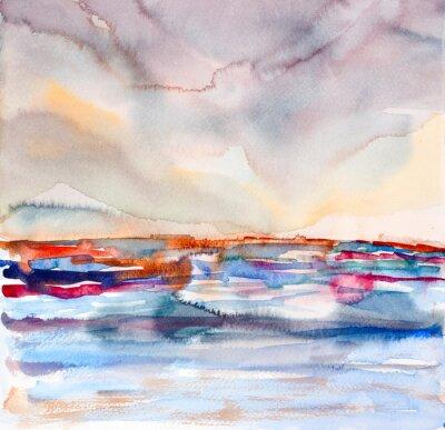 Canvastavlor abstrakt färgrik marinmålning akvarell målad