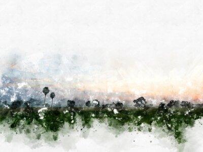 Canvastavlor Abstrakt färgrikt fältlandskap på målarbakgrund för akvarellillustration.