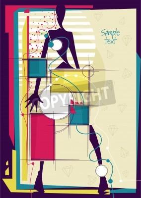 Canvastavlor Abstrakt flicka i ljus mode bakgrunden. Plats för din text. Vektor illustration.