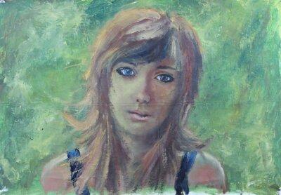 Canvastavlor Abstrakt flicka porträtt på grön oljemålning på duk