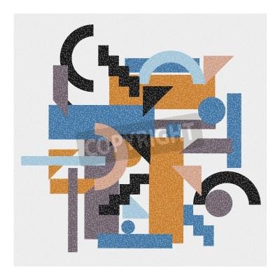 Canvastavlor Abstrakt geometrisk bakgrund i kubismen stil.