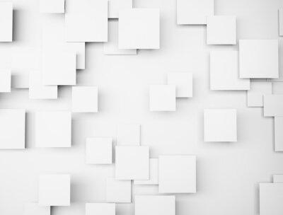 Canvastavlor Abstrakt geometrisk form 3d vita kuber