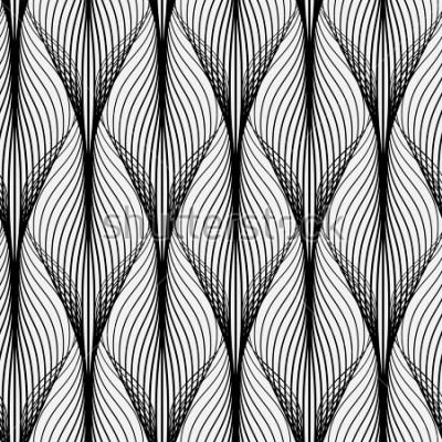 Canvastavlor Abstrakt geometriskt mönster med vågiga linjer. Sömlös bakgrund. Monokrom prydnad. Rasteriserad version