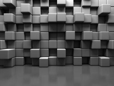 Canvastavlor Abstrakt Gray Blockkub vägg bakgrund