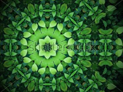 Canvastavlor Abstrakt grön bakgrund, hjärtformade gröna blad med kalejdoskop effekt