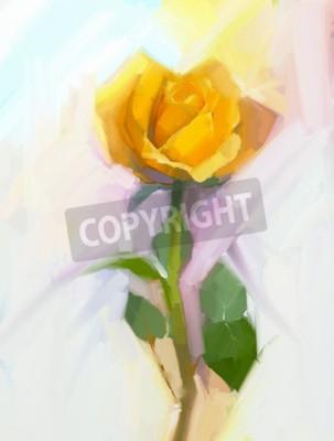Canvastavlor Abstrakt gul ros blomma med grön löv oljemålning. Handmålade blommor i mjuk färg och suddig stil bakgrund