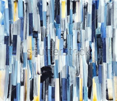 Canvastavlor Abstrakt konst bakgrund med mångfärgade ränder och teals. Bläcktextur på papper