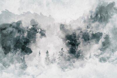 Canvastavlor Abstrakt konstarbete som visar en mörk skog med björkträd. Mixad media