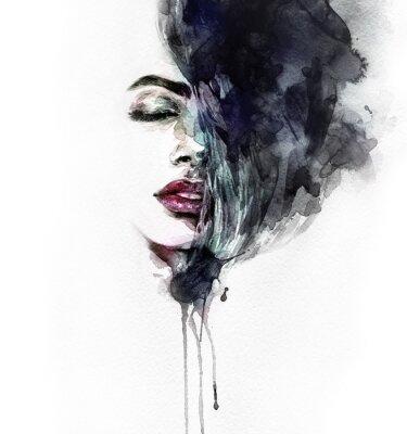 Canvastavlor Abstrakt kvinna ansikte. Modeillustration. akvarellmålning