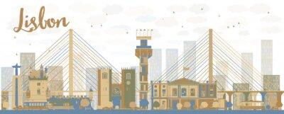 Canvastavlor Abstrakt Lissabon stadens silhuett med bruna och blå byggnader
