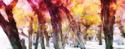 Canvastavlor Abstrakt målning av färgstark skog med gula löv i höst