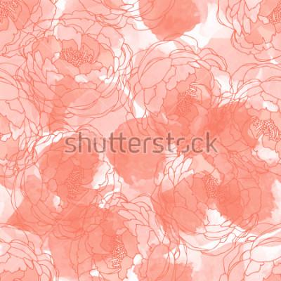Canvastavlor Abstrakt målning universal frihand akvarell sömlös mönster med pioner. Grafisk design för bakgrund, kort, banderoll, affish, omslag, inbjudan, rubric eller broschyr. Hand rit vektor struktur