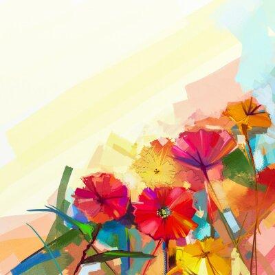 Canvastavlor Abstrakt oljemålning av vårblommor. Stilleben av gult och rött gerbera blomma. Färggrann bukett blommor med ljust grön-blå bakgrundsfärg. Handmålade blommor modern Impressioniststilen