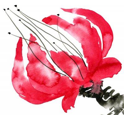 Canvastavlor Abstrakt röd blomma. Ritning vallmo. Akvarell och bläck illustration i stil Sumi-e, u-synd. Orientalisk traditionell målning. Isolerad på vit bakgrund.