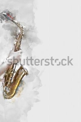 Canvastavlor Abstrakt saxofon i förgrunden. Närbild, akvarellfärgjazz som spelar saxofonen.