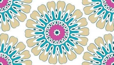 Canvastavlor Abstrakt Seamless geometriska blommiga mönster av prickar på en vit bakgrund. Vektor