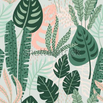 Canvastavlor Abstrakt sömlöst mönster med tropiska löv. Hand rita textur. Vektor mall.