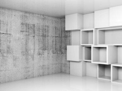 Canvastavlor Abstrakt tom interiör bakgrund med vita kuber