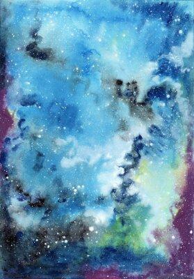 Canvastavlor Abstrakt utrymme akvarell bakgrund med stjärnhimmel och gasmoln