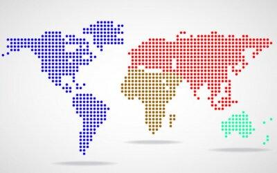 Canvastavlor Abstrakt världskarta av runda prickar