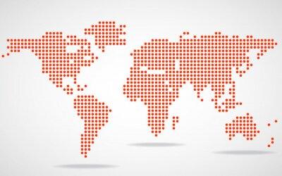 Canvastavlor Abstrakt världskarta av runda prickar. Vektor illustration. eps 10