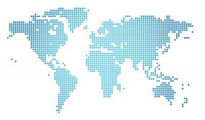 Canvastavlor Abstrakt vektorillustration av en prickad världskarta