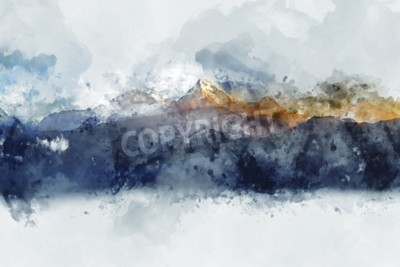 Canvastavlor Abstrakta bergskedjor i morgonljus, digital akvarellmålning