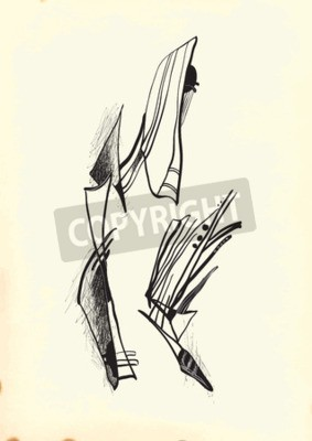 Canvastavlor Abstraktion av Cubism. En handritad vektor illustration från serien: Art of Line Art. Teknik: Digital ritning.
