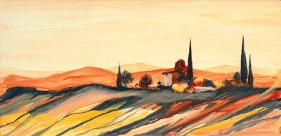 Canvastavlor Acrylfarben Gemälde einer stark farbigen bunten Toskana Landschaft mit Haus, Bäumen und Zypressen mit fließender Farbe, Farbspritzern und Tropfen mit Textfreiraum