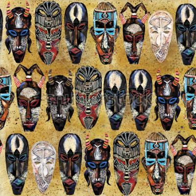 Canvastavlor afrikansk mask sömlöst mönster. handritad etnisk tribal totem bakgrund