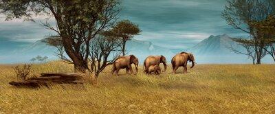 Canvastavlor Afrikanska elefanter, 3d CG