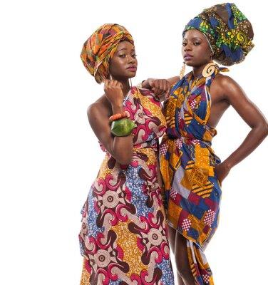 Canvastavlor Afrikanska kvinnliga modeller poserar i klänningar.