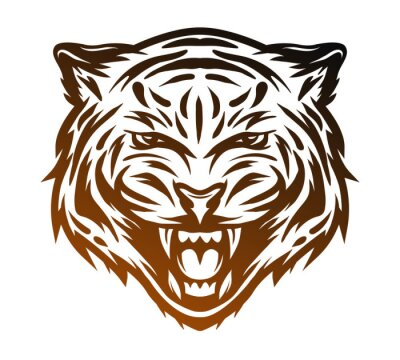 Canvastavlor Aggressiv tiger ansikte. Line art stil.