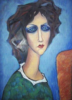 Canvastavlor Akryl färgrik målning. Duk. Porträtt av långhalsade blåögd kvinna i en grön klänning med en vit krage på staffliet på en blå bakgrund. Inredning.
