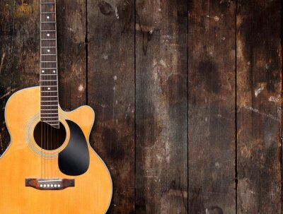 Canvastavlor Akustisk gitarr på Rustic Bakgrund