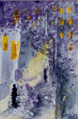 Canvastavlor Akvarell abstrakt stadsbilden