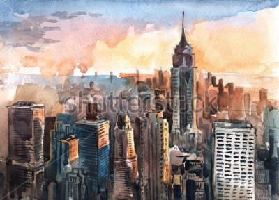 Canvastavlor Akvarell av Manhattan skyskrapor vid solnedgången - New York City Towers