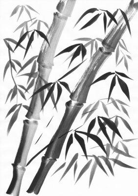 Canvastavlor Akvarell av två bambuskängor målade med grunge slag. Svart gouache på vitpappersstudie.