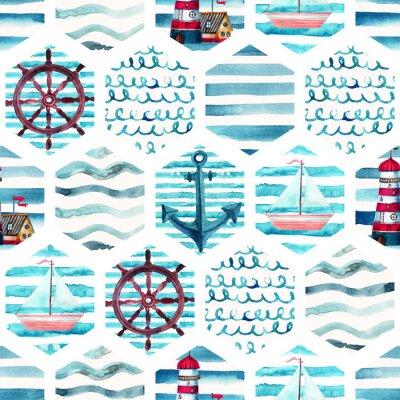 Canvastavlor Akvarell äventyr sömlösa mönster i patchwork marin stil.