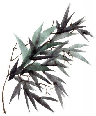 Canvastavlor Akvarell bambu lämnar gren